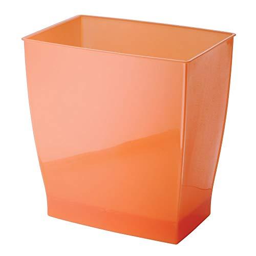Coral Wastebasket - InterDesign Spa Rectangular Trash Can, Waste Basket Garbage Can for Bathroom, Bedroom, Home Office, Dorm, College, 2.5 Gallon, Orange