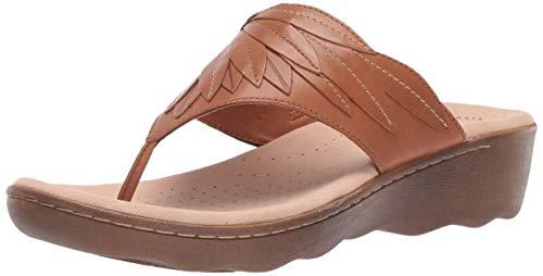 CLARKS Women's Phebe Pearl Flip-Flop tan Leather 100 M US