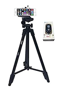 DMK T-520 tripod with mobile phone holder and Bluetooth remotefor Sony Alpha a6000 and RX100 and Canon IXUS 285s etc. cameras and all mobiles