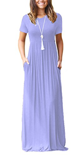 DEARCASE Women's Round Neck Short Sleeves A-line Casual Dress with Pocket Lavender Medium ()