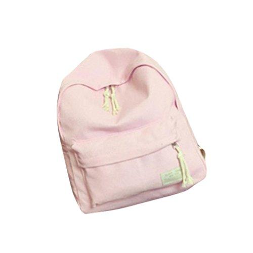 Clode® Escuela mochila morral del ordenador portátil mochila Daypacks Casual Simple libro Bolsa viaje deportes Pack bolsas Vintage para niñas niños, peso ligero Color de rosa