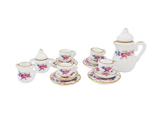 Twenis 1/12 Dollhouse Miniature 15 Pcs Pink Rose Porcelain Chintz Tea Cup Set