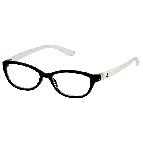 Bunny Eyez Haley Wearable, Tilt-able, Flip-able Women's Reading Glasses - Black/Crystal (+3.00)