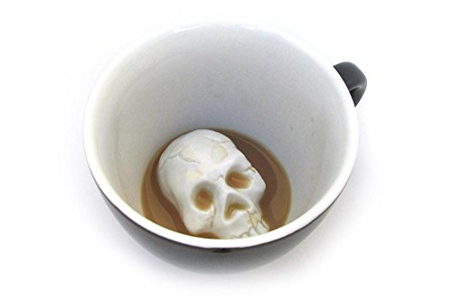 Creature Cups Skull Ceramic Cup (11 Ounce, Black) | Hidden Creepy Animal Inside | Halloween, Holiday and Birthday Gift for Coffee & Tea Lovers -