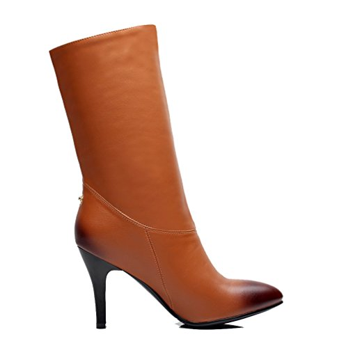 Material Heels Soft Pull On Brown Closed High AmoonyFashion Womens Solid Toe Pointed Boots S64w8pqx