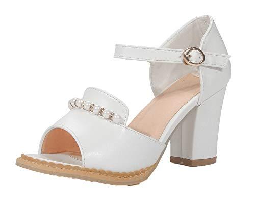 VogueZone009 Women High-Heels Solid Buckle Pu Open-Toe Sandals, CCALP015211 White