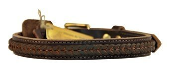 Dean & Tyler  The Braid One Brown Dog Collar with Braided Design and Brass Hardware, Size 22-Inch by 1-Inch, Fits Neck 20-Inch to 24-Inch
