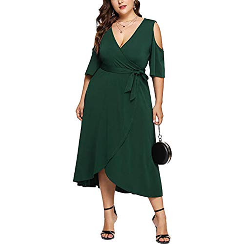 Dresses for Womens,DaySeventh Women Long Sleeve Solid Plus Size V-Neck Dress Off Shoulder Party Mini Dress