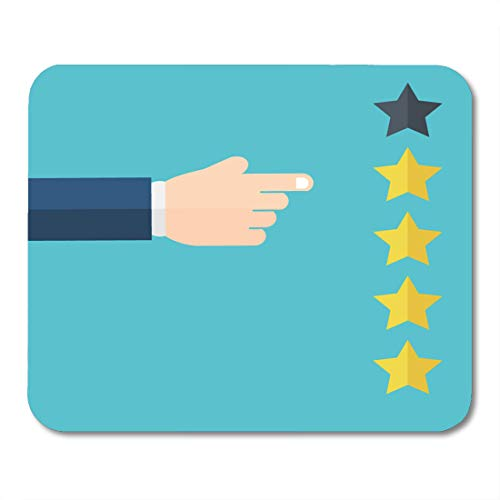 Nakamela Mouse Pads Hand Pointing at One of Five Stars Rating Evaluation Success Feedback Review and Management Concept Mouse mats 9.5