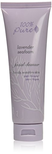 100% Pure: organic Lavender Seafoam Facial Cleanser, 3.4 oz, Made with Nourishing organic Seaweeds, Softening Rosehip Oil, Green Tea, Calming Lavender and Other organic Nutrients, No Harsh Detergents
