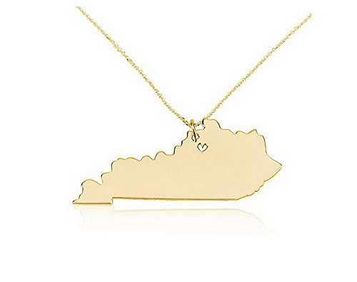 State Necklace Kentucky State Charm Necklace 18k Gold State Necklace with a Heart (14 Inches)