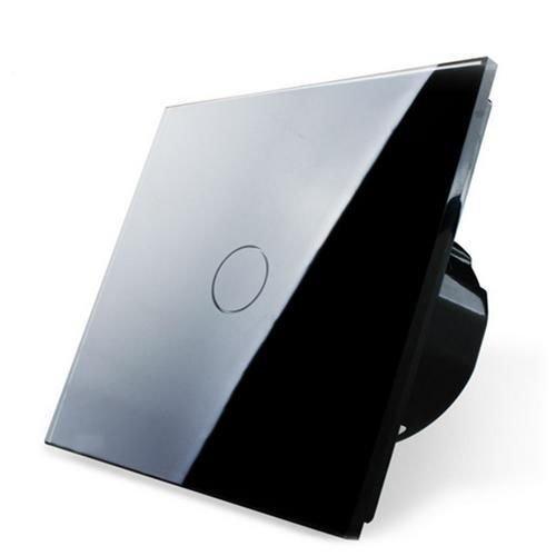 Design Glas Touch Lichtschalter 1 fach Ein/Aus schwarz