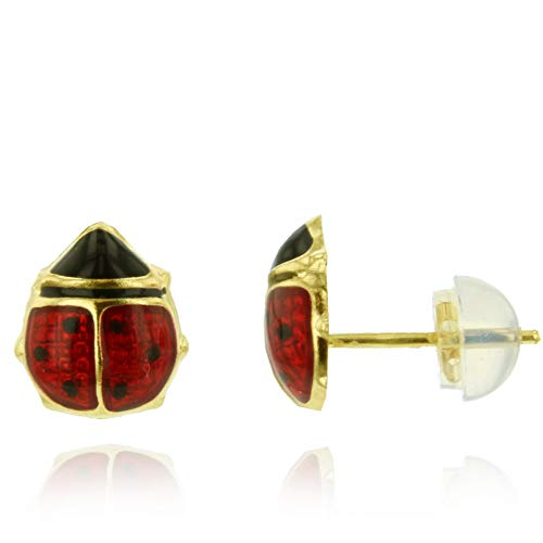 (14K Yellow Gold Polished Lady Bug Enamel Stud Earrings,)
