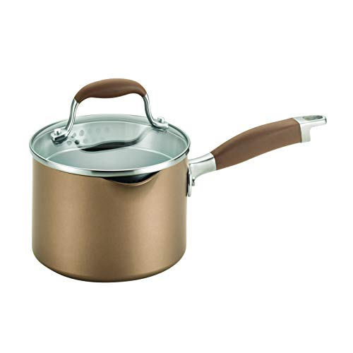 Anolon Advanced Hard Anodized Nonstick Sauce Pan/Saucepan with Straining and Lid, 2 Quart, Brown