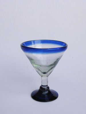 Mexican Blown Glass Small Martini Glasses Cobalt Blue Rim (Set of 6)