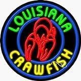 Louisiana Crawfish Circle Shape Neon Sign - 26 x 26 x 3 inches - Made in USA