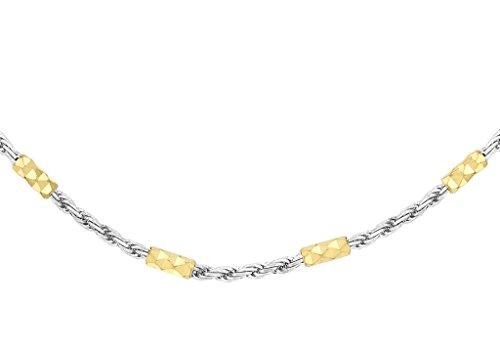 """9ct or 2couleurs Diamant coupe corde chaîne et bar 41cm/16"""""""