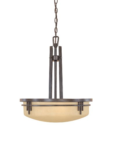 Pendant Three Elegance Light - Designers Fountain 82131-WM Mission Ridge Collection 3-Light Pendant, Warm Mahogany Finish with Navajo Dust Glass
