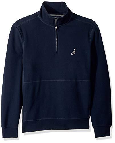 Zip Front Mock Neck Sweater - Nautica Men's Long Sleeve Half Zip Mock Neck Sueded Fleece Sweatshirt, Navy, Medium