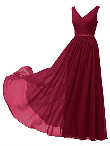 Alicepub V-Neck Chiffon Plus Size Bridesmaid Dress Long Formal Gown Party Evening Dress Sleeveless, Jester Red, US18