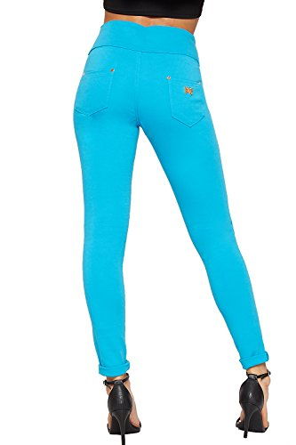 Jeans Pantalon Taille lev Turquoise Maigre clair 3 36 Fermeture Pantalon Dames Jambe Bouton tendue Femmes 44 WearAll YwxEOO