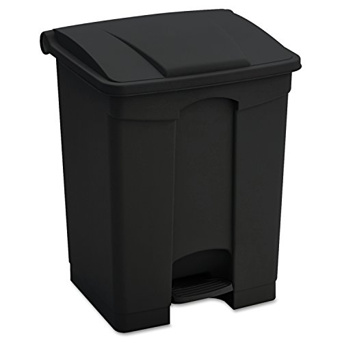 Safco Products 9923BL Plastic Step-On Waste Receptacle, 23-Gallon, Black