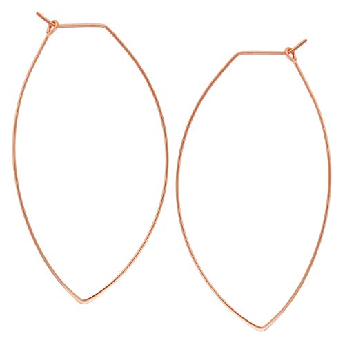 Marquise Threader Big Hoop Earrings - Lightweight Oval Leaf Statement Drop Dangles, 18K Rose - 2.3 inch, Pink Gold-Electroplated, Hypoallergenic, by Humble Chic NY ()