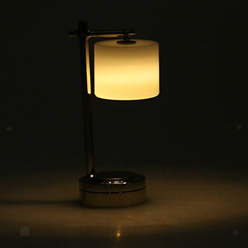 NATFUR 1:12 Dollhouse Accessories Miniature Light Desk Table LED Light Lamp Silver