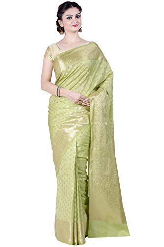 Green Silk Saree - Chandrakala Women's Green Kataan Silk Blend Banarasi Saree,Free Size(1299GRE)