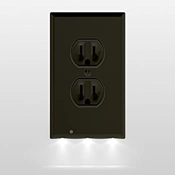1 Pack SnapPower Guidelight - Outlet Wall Plate With LED Night Lights - No Batteries Or Wires - Installs In Seconds - (Duplex, Black)
