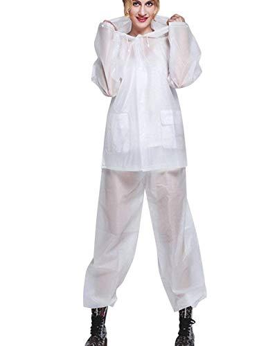 Transpirable Outdoor Chaqueta Impermeable Lluvia Sólido Blanco Y Exterior Para Liviana De Pantalones Huixin Color Mujer qPTZXxXw