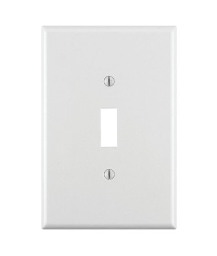 Leviton 88101 001-000 1-Toggle Oversized Wall Plate, 1 Gang, 5-1/4 in L X 3-1/2 in W 0.255 in T, Smooth, 1-Pack, White