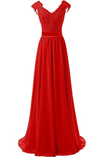 Abschlussballkleider Festlich Rot Rock Spitze mia La Braut Chiffon Damen Linie Abendkleider Cocktailkleider A v0xP7n4