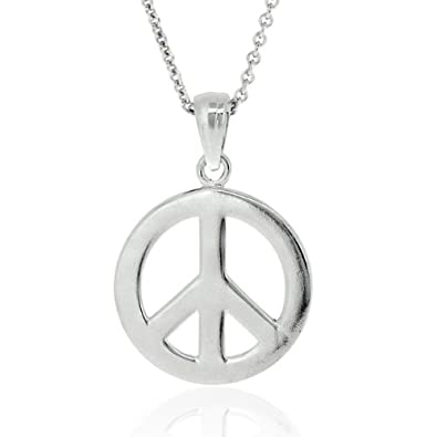 Sterling silver peace sign symbol pendant amazon jewellery sterling silver peace sign symbol pendant aloadofball Images