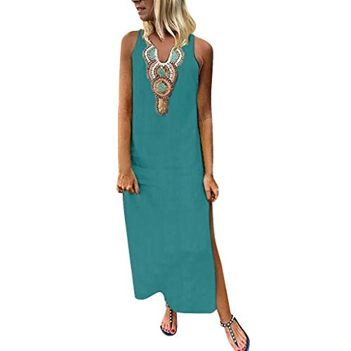 PENGYGY Woman Printed Sleeveless Skirt Casual V-Neck Maxi Dress Ladies Split Hem Baggy Long Dress Green