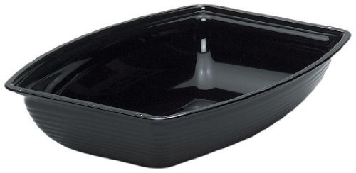 Cambro RSB1419CW-110 Polycarbonate Camwear Rectangular Ribbed Serving Bowl, 12-Quart, Black by Cambro