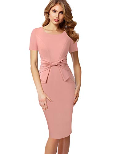 (VFSHOW Womens Pleated Bow Wear to Work Business Office Church Sheath Dress 867 PIK L)