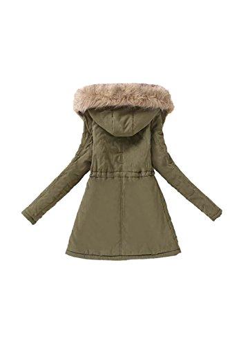 Casual con capucha lana abrigo abrigos de la mujer con la piel Armygreen