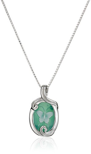 Sterling Silver Green Agate Butterfly Cameo Pendant Necklace, 18""