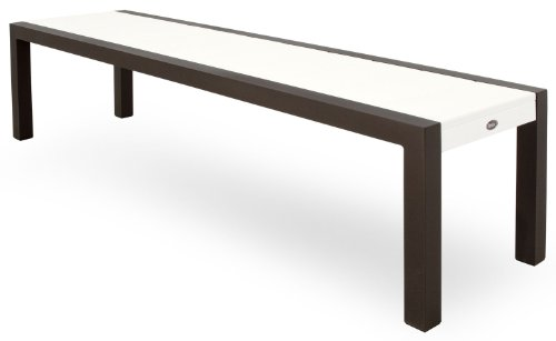 Trex Outdoor Furniture TX3810-16CW Surf City Bench, 68-Inch, Textured Bronze/Classic White ()