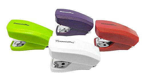 PraxxisPro, Mini Staplers, Built in Staple Remover, Staples 2 to 18 Sheets. Set of 4 (Red, Purple, White, Green)