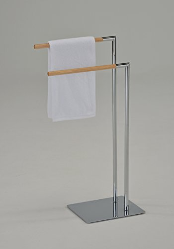 Kings Brand Chrome/Natural Finish Metal With Wood Towel Rack Stand by Kings Brand Furniture (Image #2)