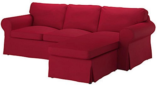 The Dense Cotton Ektorp Loveseat (2 Seater) with Chaise Lounge Cover Replacement is Custom Made for IKEA Ektorp Two Seat Chaise Sofa Slipcover (Dark Red)