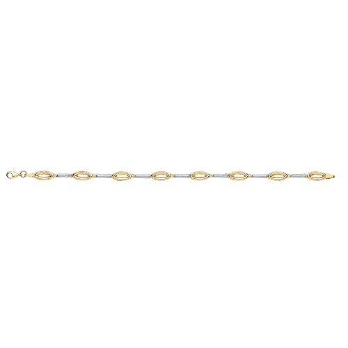 Jareeya-9ct 2Couleur Blanc et Jaune doré Fancy double Link pour femme Bracelet 4.0G
