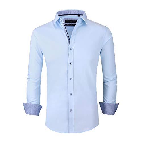 (Alex Vando Mens Dress Shirts Wrinkle Free Slim Fit Long Sleeve Men Shirt,Blue,L)
