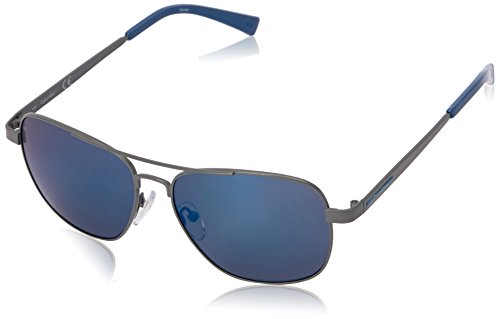 Calvin Klein Men's R168S Aviator Sunglasses, Grey/Blue Flash, 56 mm (Klein Sunglasses Men For Calvin)