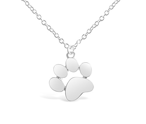 Rosa Vila Paw Print Necklace, Paw Necklace, Dog Necklace, Dog Jewelry for Women, Dog Paw Necklace, Dog Pendant, Dog Necklaces for Women (Silver Tone) (Paw Print Dog Bones)