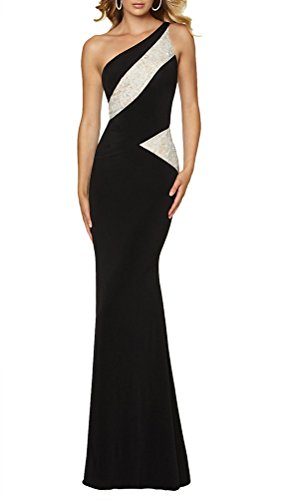 LECHEERS Women One Shoulder Lace Colorblack Bridesmaid Long Prom Dress Black XXL