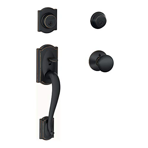 Schlage F62-CAM-PLY Double Cylinder Handleset with Plymouth Interior Knob from t, Aged Bronze