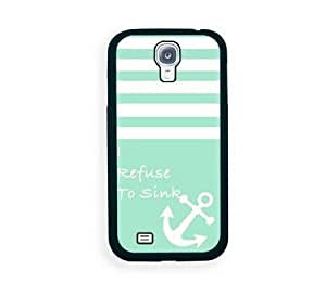 Houseofcases Turquoise Solid Stripes White Anchor Refuse To Sink Samsung Galaxy S4 I9500 Case - Fits Samsung Galaxy S4 I9500
